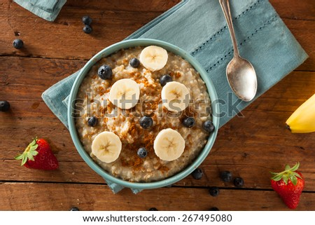 Homemade Healthy Steel Cut Oatmeal with Fruit and Cinnamon - stock photo