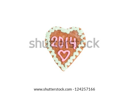 Homemade heart shape cookie isolated on white with 2014 number for Valentines Day or New Year