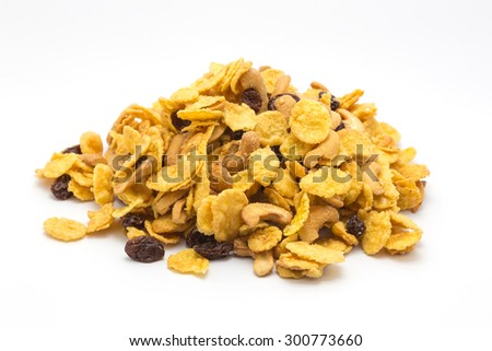 Homemade Honey caramel cornflakes on white background