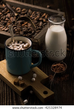 Homemade hot chocolate with marshmallows on rough wood - stock photo