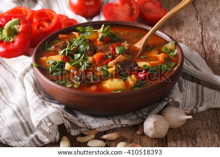 Homemade Hungarian Goulash soup bogracs close-up in a bowl on the table. horizontal