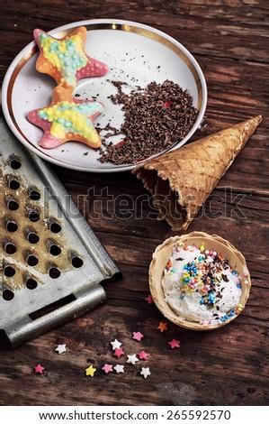 homemade ice cream sundae decorated Easter powder.Shallow DOF - stock photo