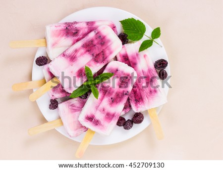 Homemade ice cream with black raspberry and mint on white plate on light background. Top view. - stock photo