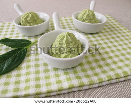 Homemade ice cream with matcha tea - stock photo