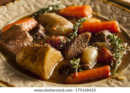 Homemade Irish Beef Stew with Carrots and Potatoes - stock photo