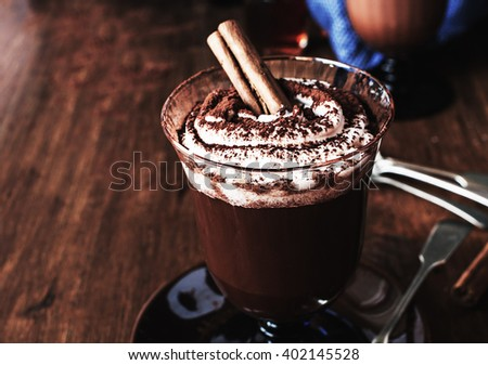 Homemade Irish Coffee with cinnamon and Whipped Cream - stock photo