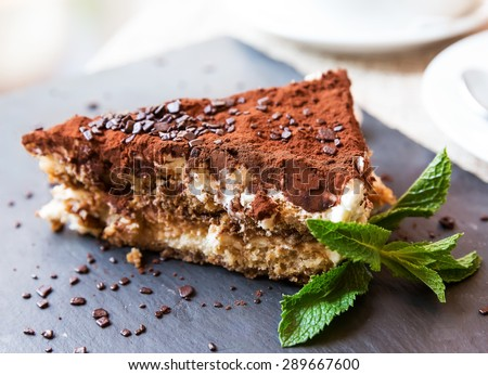 Homemade italian tiramisu cake served on a plate - stock photo