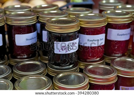 Homemade jam for sale at a farmer's market. - stock photo