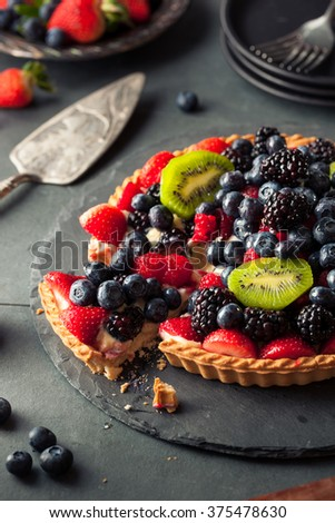 Homemade Key Lime Fruit Tart with Berries - stock photo