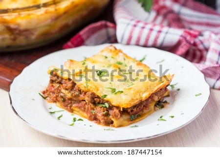 Homemade lasagna with Bolognese meat sauce Bechamel, tasty dish - stock photo