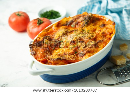 Homemade lasagna with meat sauce and cheese crust