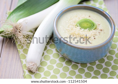 homemade leek cream with cheese - food and drink