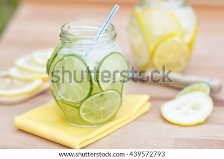 homemade lemonade. sweet refreshing non-alcoholic drink in the day. life style.drink of water, sugar and lemons, limes ice