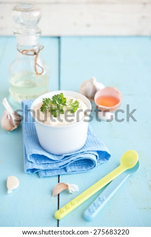 homemade mayonnaise  - stock photo