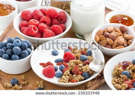 homemade muesli with fresh berries and yogurt for breakfast, close-up - stock photo