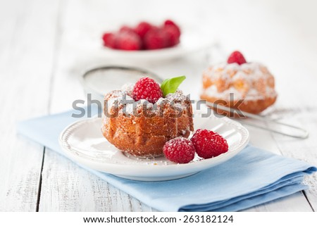 Homemade muffins with a fresh raspberries on white wooden background, selective focus - stock photo