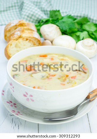 Homemade mushroom soup with chicken