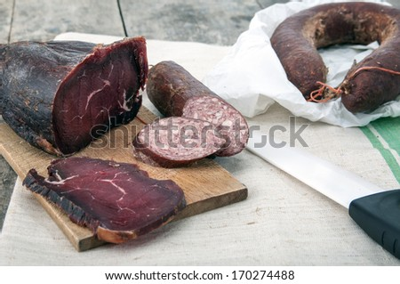 Homemade natural veal dried meat  and sausage