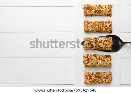 Homemade no bake granola bars on stock photo royalty free homemade no bake granola bars on white wooden background top view copy space ccuart Image collections
