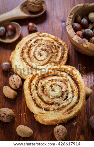 Homemade nut pastry on table - stock photo