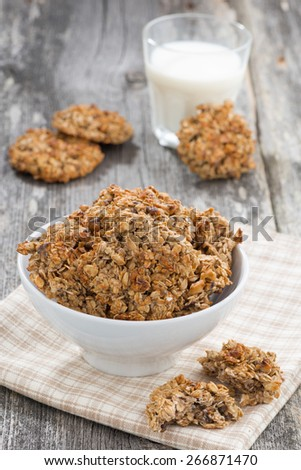 homemade oatmeal cookies and a glass of milk, vertical, close-up - stock photo
