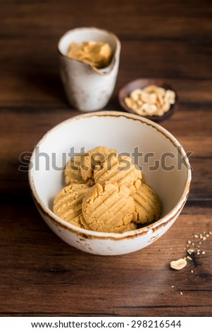 Homemade oatmeal cookies with peanut butter in a bowl, selective focus - stock photo