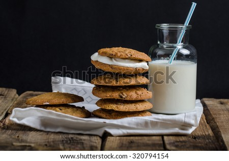 Homemade Oatmeal Cream Pie Cookies with creamy and delicious filling - stock photo