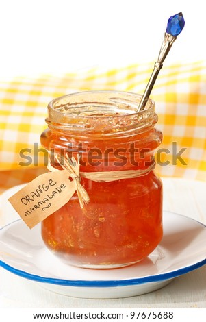 Homemade orange marmalade in a jar. - stock photo