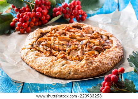 Homemade organic apple pie. Autumn dessert galette with apple, cinnamon, and other spices - stock photo