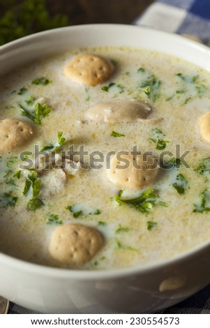Homemade Oyster Stew with Parsley and Crackers