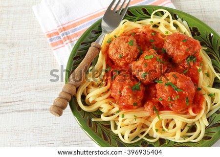 Homemade pasta meatballs with tomato sauce
