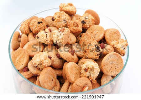 Homemade pastry biscuits with nuts and seeds