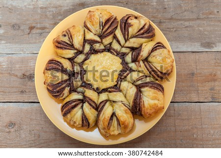 Homemade Pastry With Chocolate and Cocoa Cream - stock photo