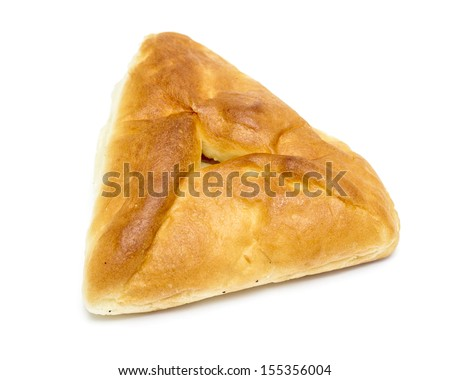 Homemade pasty isolated on white background - stock photo