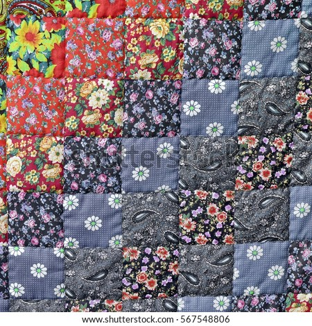 Homemade Patchwork Quilt Background Colorful Rustic Stock Photo ... : patchwork quilt blanket - Adamdwight.com
