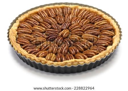 homemade pecan pie isolated on white background - stock photo