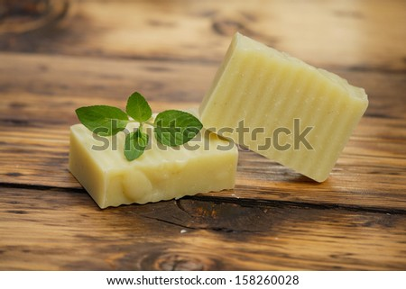 Homemade peppermint soap - stock photo