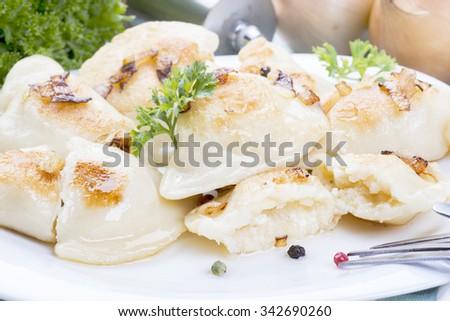 homemade pierogi dumplings, polish food - stock photo