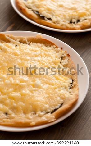 Homemade pies with cheese in white plate on a wooden table, selective focus, vertical - stock photo