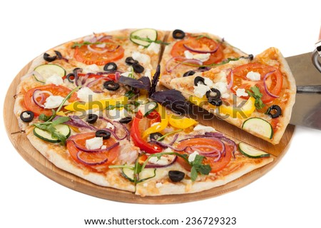 Homemade pizza isolated on white background