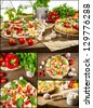 Homemade pizza made form fresh ingredients - stock photo