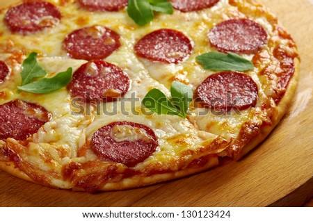 homemade pizza  Pepperoni.Closeup - stock photo