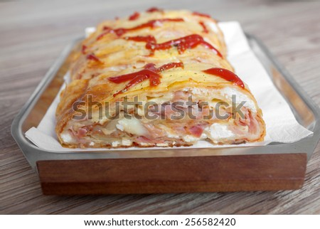 Homemade pizza sandwich - stock photo