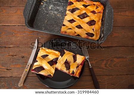 Homemade Plum Pie Slices - stock photo