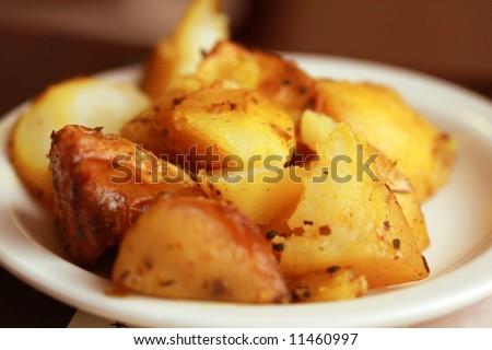 homemade potato with  saffron flavor - stock photo