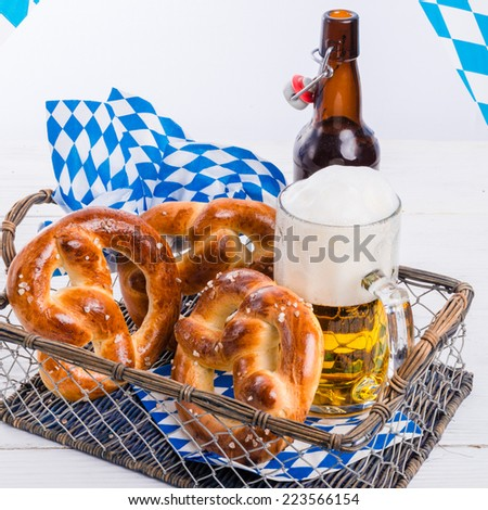 homemade pretzels and bavarian beer - stock photo