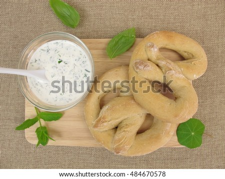 Homemade pretzels with herb cream cheese dip