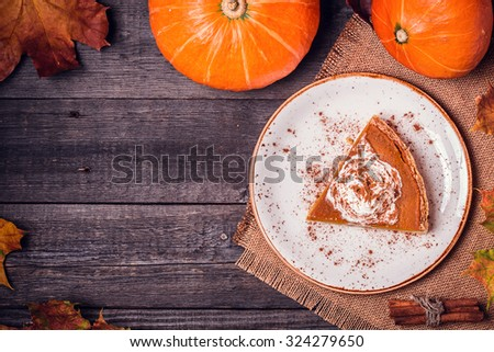 Homemade Pumpkin Pie for Thanksgiving. Top view. - stock photo