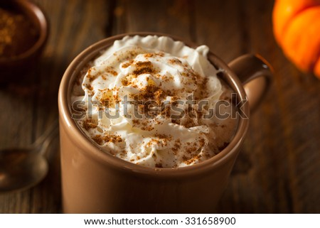 Homemade Pumpkin Spice Latte with Cream and Cinnamon