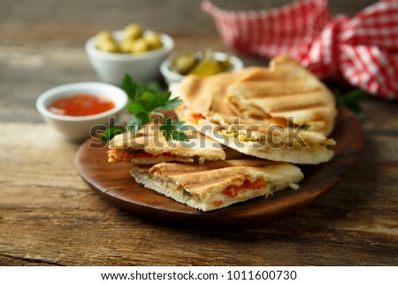 Homemade quesadilla with vegetables
